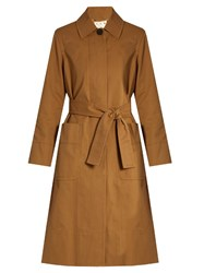 Trademark Tie Waist Coated Cotton Trench Coat Beige
