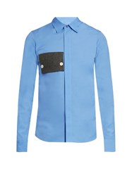 Marni Patch Pocket Cotton Poplin Shirt Blue Multi