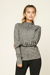 Forever 21 Active Marled Knit Run Jacket Charcoal Black