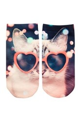 Free Press No Show Sublimation Low Cut Socks Kitty Heart Glasses