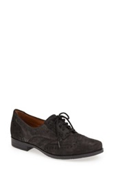 Earthies 'Lisbon' Pearlized Suede Lace Up Flat Black
