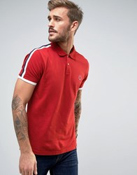 Pretty Green Tilby Moon Pique Polo Slim Fit In Red Dark Red
