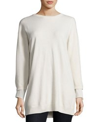 Brunello Cucinelli Round Neck Long Cashmere Sweater Cream