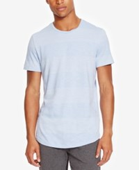 Kenneth Cole Reaction Men's Striped Heathered T Shirt Blue Heron