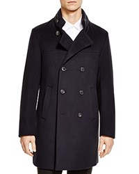 Armani Collezioni Wool And Cashmere Double Breasted Overcoat Notte