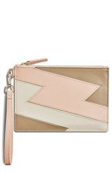 Shinola Bolt Nappa Leather Wristlet Pink Soft Blush Black