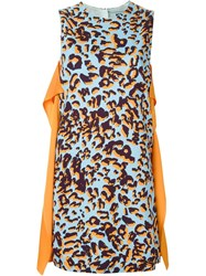 Msgm Leopard Print Dress Blue