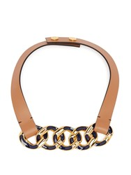 Marni Chain Link Leather Necklace Navy