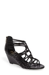 Isola Women's Floral Strappy Wedge Sandal Black Leather