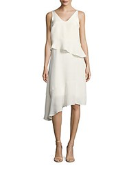 Tibi Ruffled V Neck Sleeveless Silk Dress Ivory