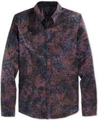 Guess Men's Long Sleeve Howell Floral Print Shirt Howell Floral Tawny Port