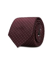 Peckham Rye Burgundy Micro Dot Silk Jacquard Tie Dark Red