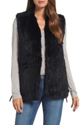 Love Token Women's Genuine Rabbit Fur Vest Black
