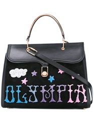 Olympia Le Tan Griffen Embr Marguerite Tote Bag Black