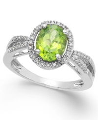 Macy's Peridot 2 Ct. T.W. And Diamond 1 8 Ct. T.W. Oval Ring In Sterling Silver
