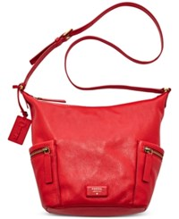 Fossil Emerson Leather Hobo Real Red