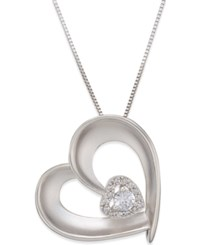 Macy's Diamond Satin Heart Pendant Necklace 1 5 Ct. T.W. In Sterling Silver