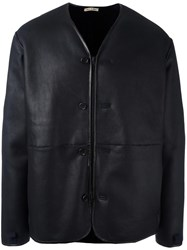 Marni Zip Front Shearling Coat Blue