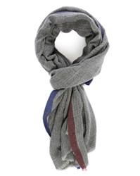 Hartford Grey Jacquard Wool Scarf With Contrasting Blue Selvedge