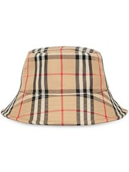 Burberry Vintage Check Bucket Hat Neutrals