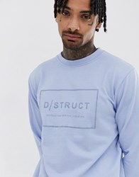 D Struct Logo Crew Neck Sweat Blue