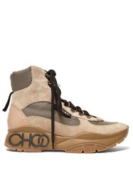 Jimmy Choo Inca Suede Hiking Boots Beige Multi