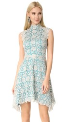 Catherine Deane Izzy High Neck Lace Dress Metallic Silver Turquoise