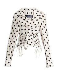 Jacquemus Polka Dot Print Ruched Blouse White Black