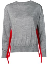 Sofie D'hoore Stripe Detail Loose Sweater Grey