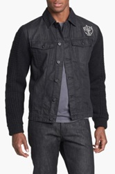 Insight 'Revival' Denim Jacket With Knit Sleeves Black