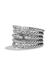 David Yurman Willow Five Row Ring With Diamonds Silver