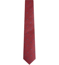 Tiger Of Sweden Square Dot Print Tie Burgandy