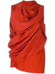 Rick Owens Draped Sleeveless Blouse Red