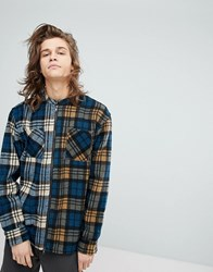 Fairplay Zip Through Shirt With Contrast Check Blue
