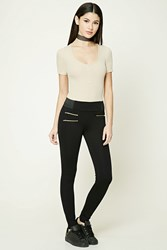 Forever 21 Zippered Pocket Leggings Black