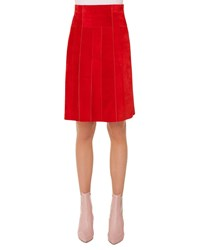 Akris Punto Side Zip Suede Paneled A Line Knee Length Skirt Red