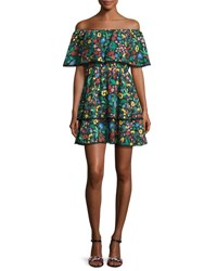 Alice Olivia Tylie Floral Print Off The Shoulder Ruffle Mini Dress Multicolor