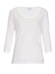 James Perse Raglan Sleeved Linen And Cotton Blend T Shirt White