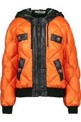 Moschino Quilted Shell Hooded Coat Orange