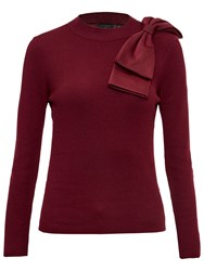 Ted Baker Nehru Bow Detail Skinny Ribbed Jumper Maroon