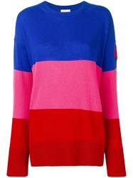 Moncler Stripe Logo Patch Cashmere Jumper 455 Blue Pink Red
