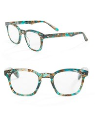 Corinne Mccormack 46Mm Annie Square Reading Glasses Blue Green