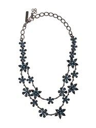 Oscar De La Renta Flower Embellished Necklace Blue
