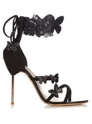 Sophia Webster Harmony Butterfly Applique Suede Sandals Black