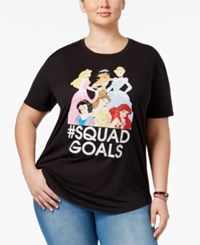 Hybrid Trendy Plus Size Squad Goals Princess Graphic T Shirt Black