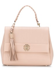 Roberto Cavalli Quilted Logo Tote Pink And Purple