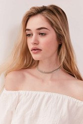 Urban Outfitters Multi Chain Choker Necklace Silver