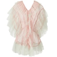 Supersweet X Moumi Tulle Blouse In Pink And Mint Green White Pink Purple