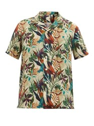 120 Lino Tropical Print Cuban Collar Linen Shirt Green Multi