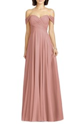 Dessy Collection Lux Off The Shoulder Chiffon Gown Desert Rose
